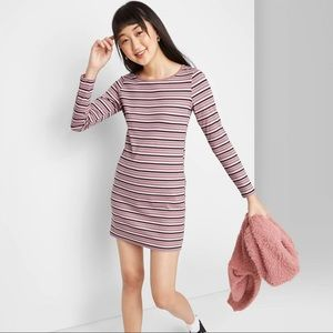 wild fable Striped Long Sleeve Knit Mini Dress